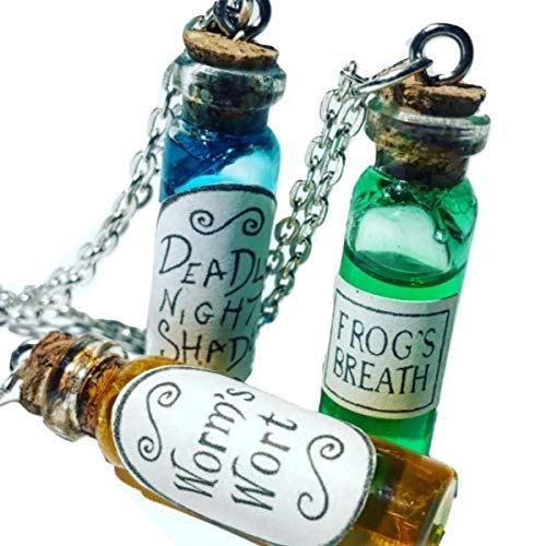 Nightmare Before Christmas Potion Bottle Necklace Deadly Nightshade Worm's Wort Frog's -