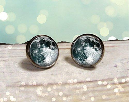 Moon Stud Earrings, Pastel Goth Grunge Boho Jewelry, Boho Chic Hippie Outer Space Bohemian Jewelry, Gypsy Moon Earrings, Science Jewelry - Grunge Goth