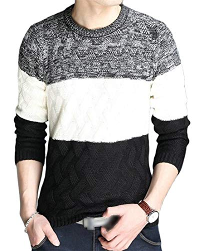 - Macondoo Men Tops Long Sleeve Crewneck Knitting Classic Colorblock Sweaters Black L