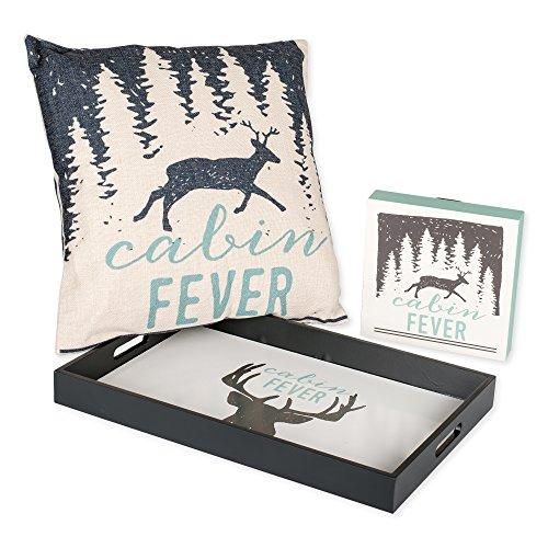 Cabin Fever Deer Head Serving Tray, Throw Pillow and Wall Art Plaque Set of 3 For the Home ()