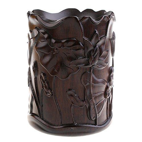 MonkeyJack Finest Ebony Hand-carved Lotus Chinese Calligraphy Writing Brush Pot Container Pen Pencil Vase Holder ()