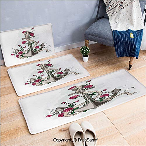 3 Piece Non Slip Flannel Door Mat Hand Drawn Illustration of Sea Anchor Entwined with Flowers and Marine Rope Decorative Indoor Carpet for bath Kitchen(W15.7xL23.6 by W19.6xL31.5 by W15.7xL39.4)