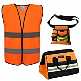 Reflective Tool Bags SETS For Men & Women Include 1pc 16 inch Large Wide Mouth tool bag and 1Pc Reflective Electrical Maintenance Tool Bag and 1PC safety vests (3 Pack Sets, Orange)