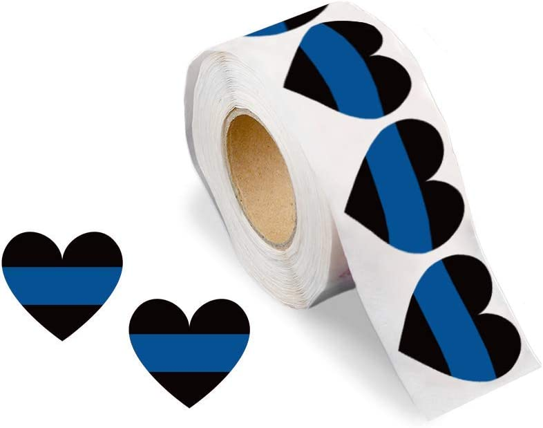 Fundraising For A Cause | Blue Line Heart Stickers - Police Support Stickers for Car Bumpers, Office Doors, Cell Phones and More (250 Stickers)