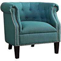 Homelegance Karlock Button Tufted Barrel Accent Chair, Teal