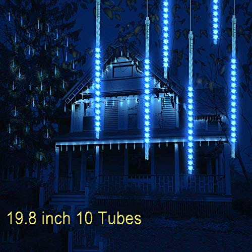 Toptik Meteor Shower Rain Lights, 19.8 inch 10 Tubes Falling Rain Drop Light Ultra Bright Romantic Lights Party, Wedding, Christmas, Yard,etc (Blue)