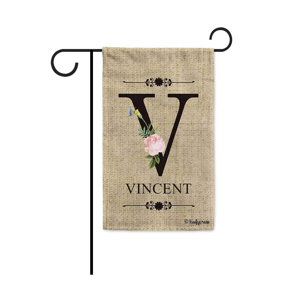 KafePross Welcome Spring Summer Flowers Monogram V Decorative Garden Flag Customized Your Last Name and Initial Letter Home Decor Banner for Outside 12.5X18 Inch Print Double Sided