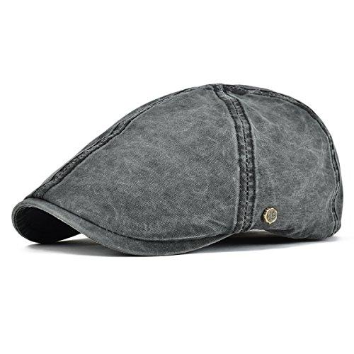 VOBOOM Ivy Caps 100% Cotton Washed Plain Flat Caps Newsboy Caps Cabbie Hat (57cm-58cm=7 1/8-7 1/4, (Newsboy Ivy Hat)