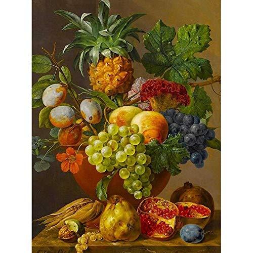 Pintura por Numeros Cuadros de Colorear por Numeros Kit para Pintar en Lienzo con Marco DIY Bricolaje Adultos Ninos Decoracion de Pared Regalos - Florero de frutas