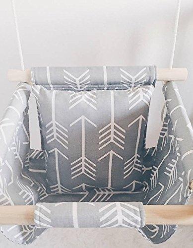 Indoor/Outdoor Gray Arrow Fabric Swing, Nursery Baby Swing