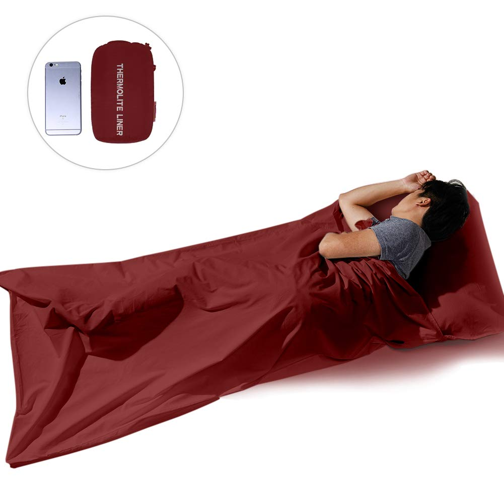 XWetter Sleep Bag Liner Mummy, Polyester Sleep Bag Liner, Outerdoor Camping Sheet,Rectangular with Pillow Pocket, Skin Friendly, Adult Stuff Sack, Traveling,&Hotels by XWetter
