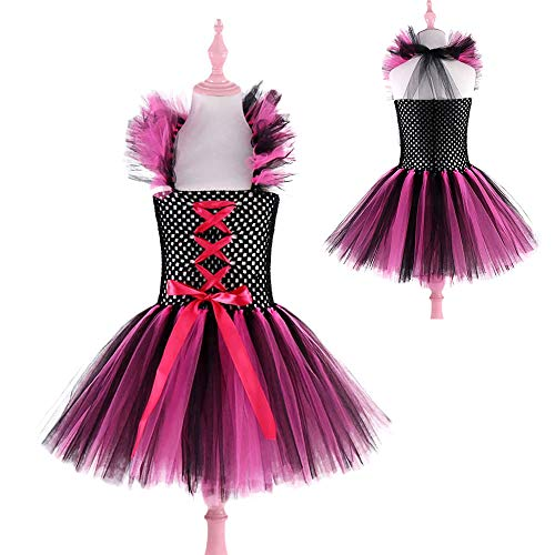 Hot Pink Black Girls Witch Costume for Halloween Children Kids Tulle Tutu Dress for Girls Cosplay Csotume