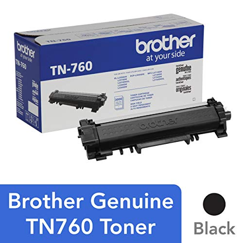 Brother Genuine High Yield Toner Cartridge, TN760, Replacement Black Toner, Page Yield Up To 3,000 Pages, Amazon Dash Replenishment Cartridge ()