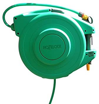 Hozelock 2490 Auto Rewind Wall Mount Hose Reel With 65 Foot Hose