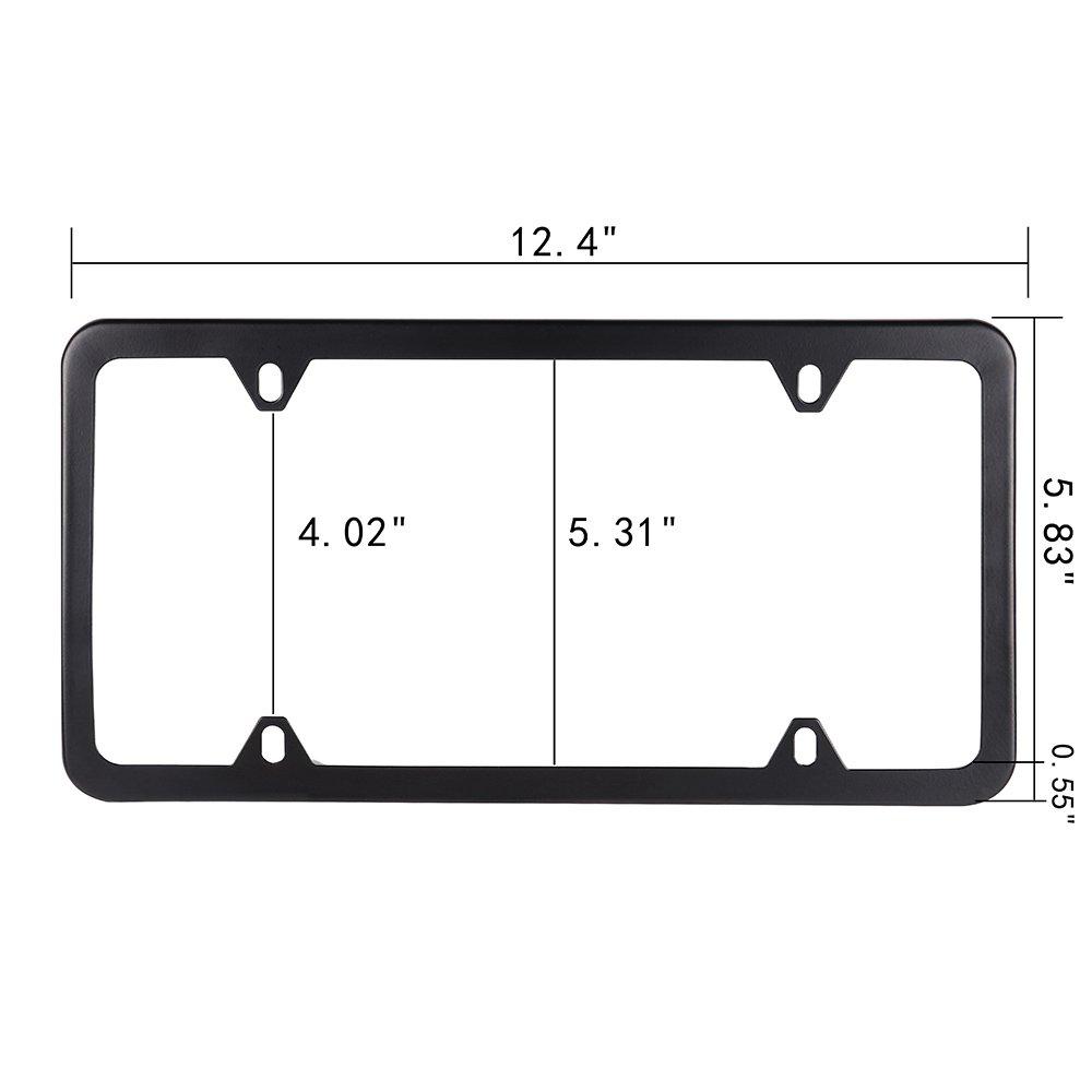 ROADFAR License Plate Frame Chrome Screw Caps Aluminum Tag Holders 4 Holes kit,2pcs Car Licenses Plate Covers Holders,Black Protect Front Back License Plates US Vehicles 122442-5231-1037109181