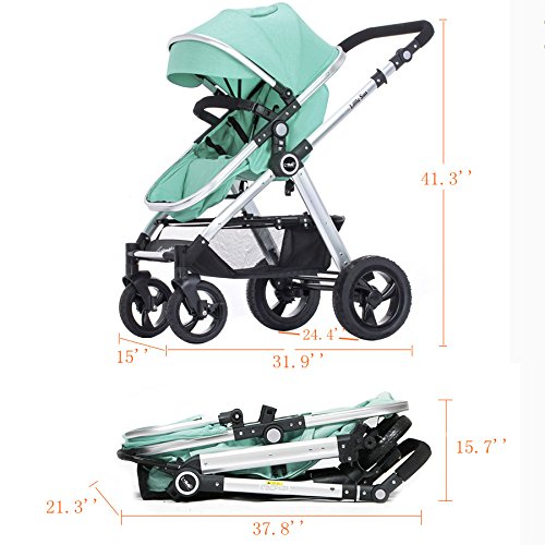 Hanmate Two-way Baby Foldable Anti-shock High landscape Carriage Infant Stroller Pushchair Pram Without Brim (Purple, Size3) by Hanmate (Image #2)