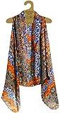 Accents by Lavello Sheer Designer Vest, Cobalt/Orange Persian Print