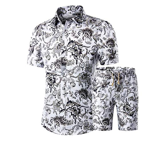 LowProfile Men's Summer Casual Button Down Short Sleeve Hawaii Shirt Set Fashion Floral Printed Shirt Suit and Shorts White (Stand For Clothes To Dry In India)
