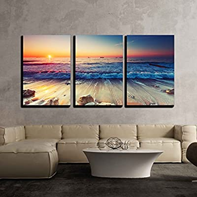 Unbelievable Piece of Art, Beautiful Sunrise Over The Horizon x3 Panels, With Expert Quality