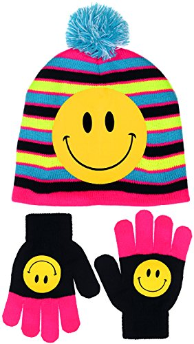 Emoji Striped Knit Beanie with Gloves