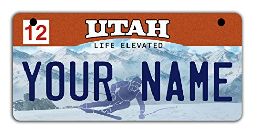 Utah Costumes (BleuReign(TM) Personalized Custom Name 2016 Utah State Motorcycle Moped Golf Cart License Plate Auto Tag)
