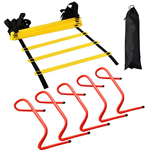 12 Rung Agility Training Ladder Kit – with A Carry Bag, Extra 5pcs of 6 Inch Speed Hurdles– All Purpose Football Soccer…