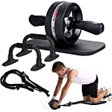 EnterSports Ab Roller Wheel  6-in-1 Ab Roller Kit with Knee Pad  Resistance Bands  Pad Push Up Bars Handles Grips   Perfect Home Gym Equipment for Men Women Abdominal Exercise