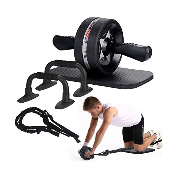 5-in-1 AB Roller Wheel Kit Gym Home Abdominal Fitness Workout Training Exerciser