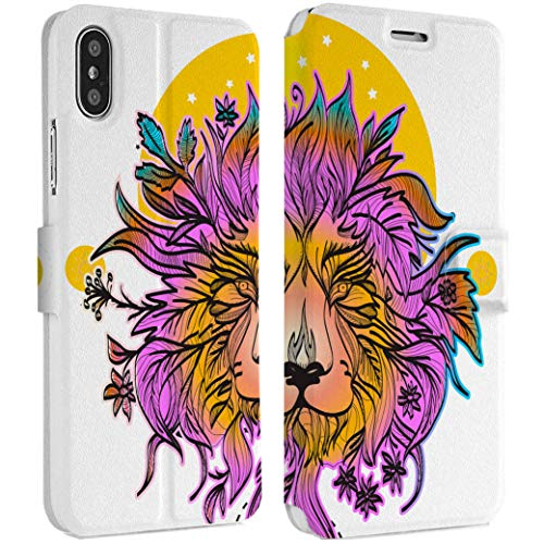 Wonder Wild Sunrise Lion iPhone Wallet Case X/Xs Xs Max Xr Case 7/8 Plus 6/6s Plus Card Holder Accessories Smart Flip Hard Design Protection Cover Boho Animal King Mandala Colorful Mother Nature ()