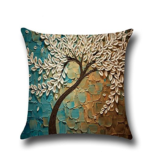 Hoomall-3D-Oil-Painting-Sofa-Throw-Pillow-Case-Cushion-Covers-Decorative-Life-Tree-Flowers-with-Zipper-18x18
