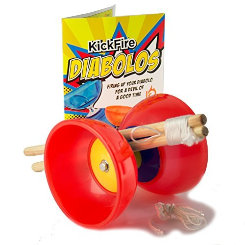 KickFire Diabolos Red Comet Chinese YoYo Diabolo Set with Wooden Sticks and String by KickFire Diabolos