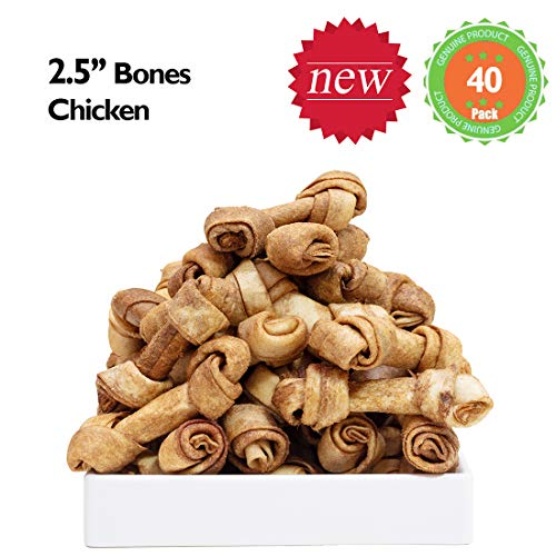 MON2SUN Dog Rawhide Knot Bones Chicken Flavour 2.5 Inch 40 Count for Puppy and Small Dogs