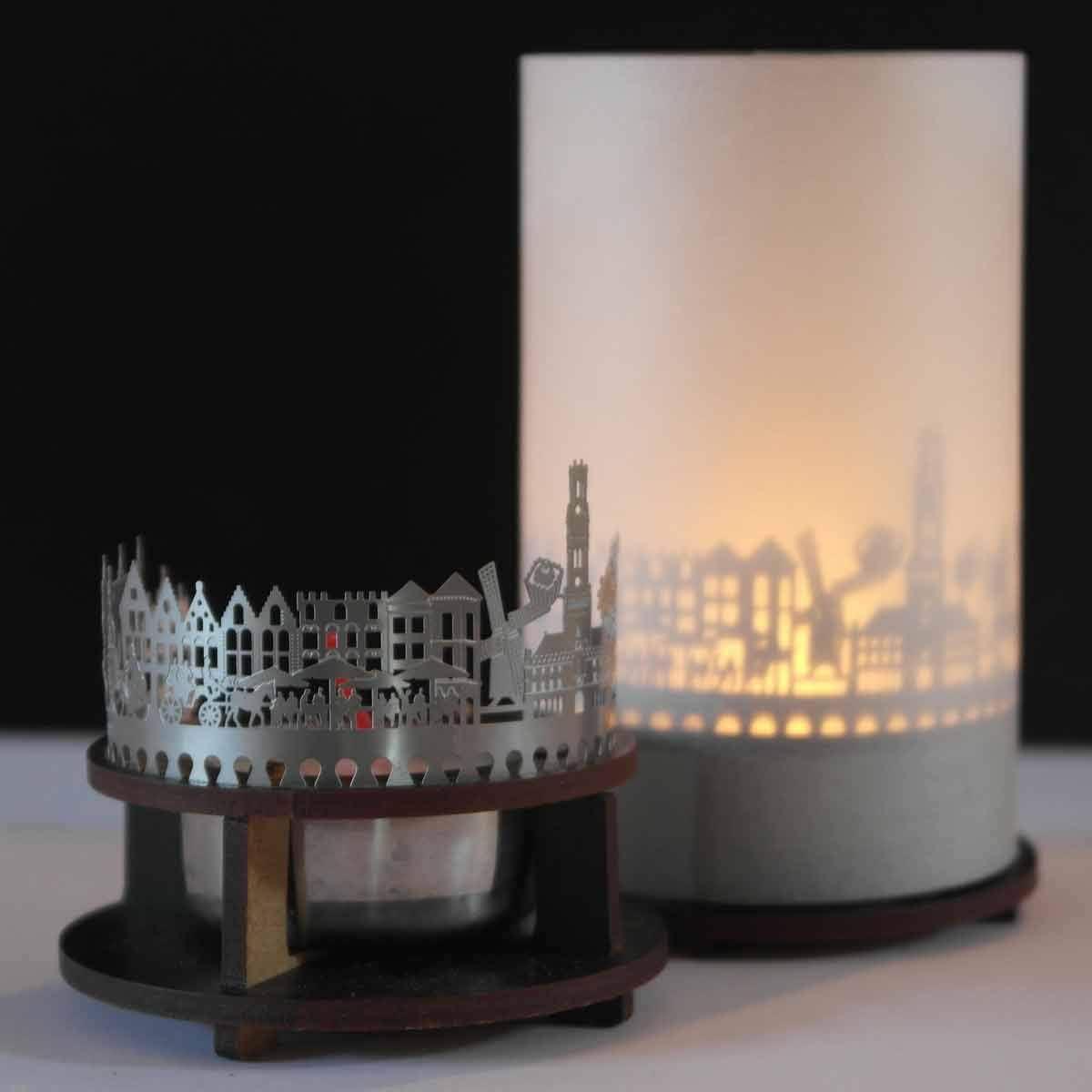 Premium Votive Shadow Play Gift Box Acier Inoxydable Belgien Skyline Windlicht 13 grammes Design pour Homme