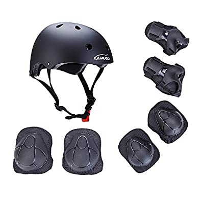Kamugo Kids Youth Adjustable Comfortable Helmet with Sports Protective Gear Set Knee/Elbow/Wrist Pads for Cycling Skateboarding Skating Rollerblading and Other Extreme Sports Activities from Kamugo