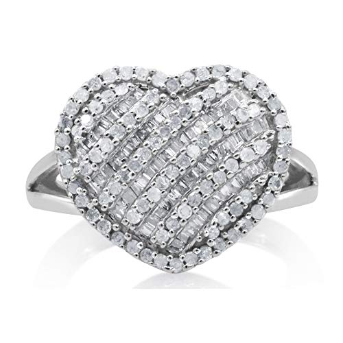 1.00 Cttw Round and Baguette Cut White Natural Diamond Heart Shape Dome Engagement Ring Sterling Silver