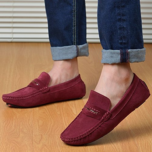 Boat Stripe Shoes TDA Loafers Stylish Wine Red Moccasin Mens Leather Sued Ea8x0OwqB0