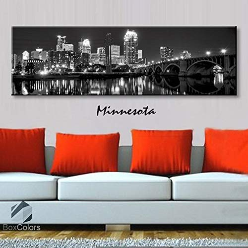 BoxColors - Single panel 3 Size Options Art Canvas Print Minnesota City Skyline Panoramic Downtown Night black & white Wall Home Office decor (framed 1.5