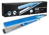 Hair Straightener by anmao Professional 450°F Nano Hair Iron Straightener Titanium 30 Second Heat up Hair Straightener Iron LED Display Hair Iron Straightener Blue