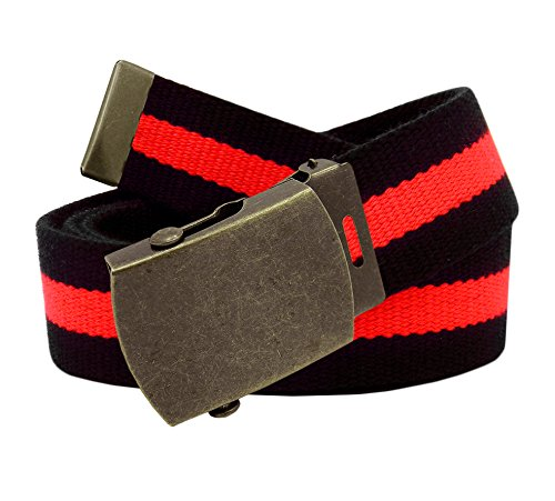 Men's Antique Gold Slider Military Belt Buckle with Canvas Web Belt XXX-Large Black and Red Stripe