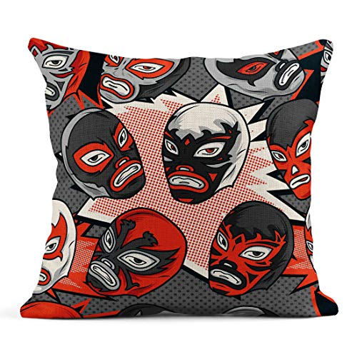 - Semtomn Decor Flax Throw Pillow Covers Case Colorful Mask Mexican Wrestler Luchador Pattern Libre Lucha Wrestling 16