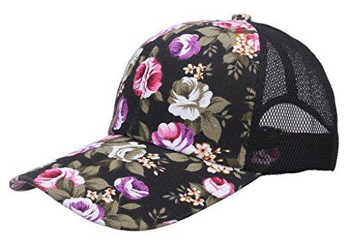 (ビグッド)Bigood キャップ レディースメッシュキャップ ベースボールキャップ 花柄 コットンとメッシュ生地 野球帽 カジュアルキャップ ブラック