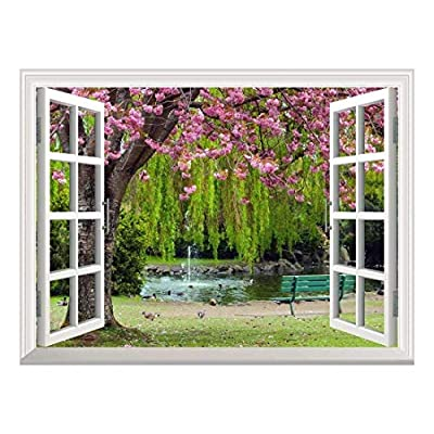 Marvelous Technique, Removable Wall Sticker Wall Mural Cherry Blossom in Spring Creative Window View Wall Decor, Premium Product