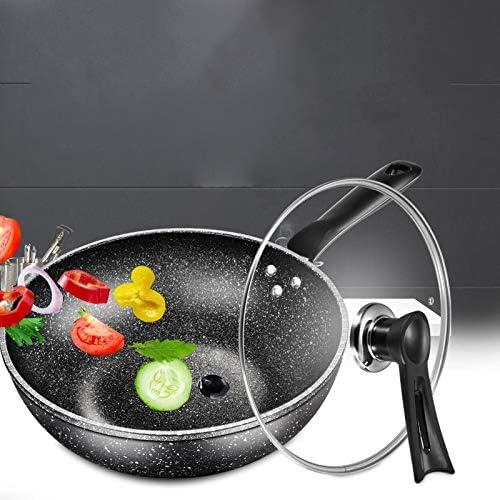 Zcm Antihaftpfanne Wok Antihaft-Pfanne weniger Öl Rauch Herd Gasherd Flachboden Kochtopf Hotpot Non Stick Pan Kochen Pan Kitchen Pot Kochen (Color : 32cm) Red