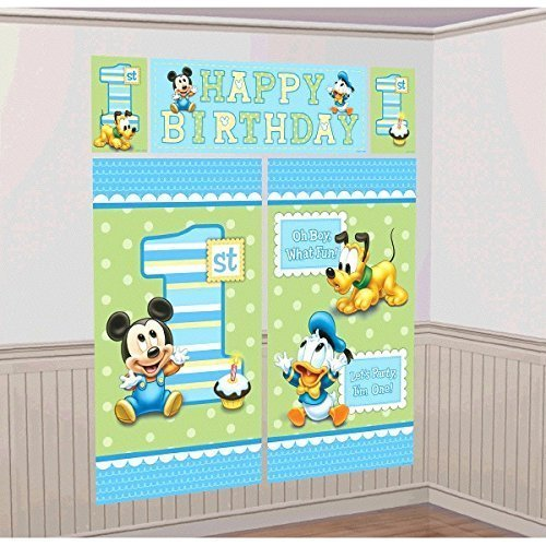 Amscan Disney Baby Mickey Mouse 1st Birthday Scene Setters Wall Decorating Kit Party Supplies, Large, Blue/Green -