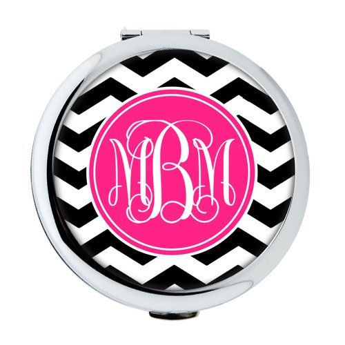 iFUOFF Compact Makeup Mirror, Black and White Zigzag Chevron Geometric Seamless Patterns VS Bright Pink Monograms Customized Round Ultra-thin 0.8cm Compact Makeup Mirror ()