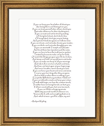 If - Red Border by Rudyard Kipling Framed Art Print Wall Picture, Wide Gold Frame, 23 x 28 inches (Prose Border)