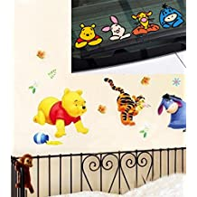 Winnie the Pooh Wall stickers for kids rooms Home decor Wallpaper Art Decals 3D Design House Decoration & Car Decal Covers Waterproof on rear windshield (Type B)