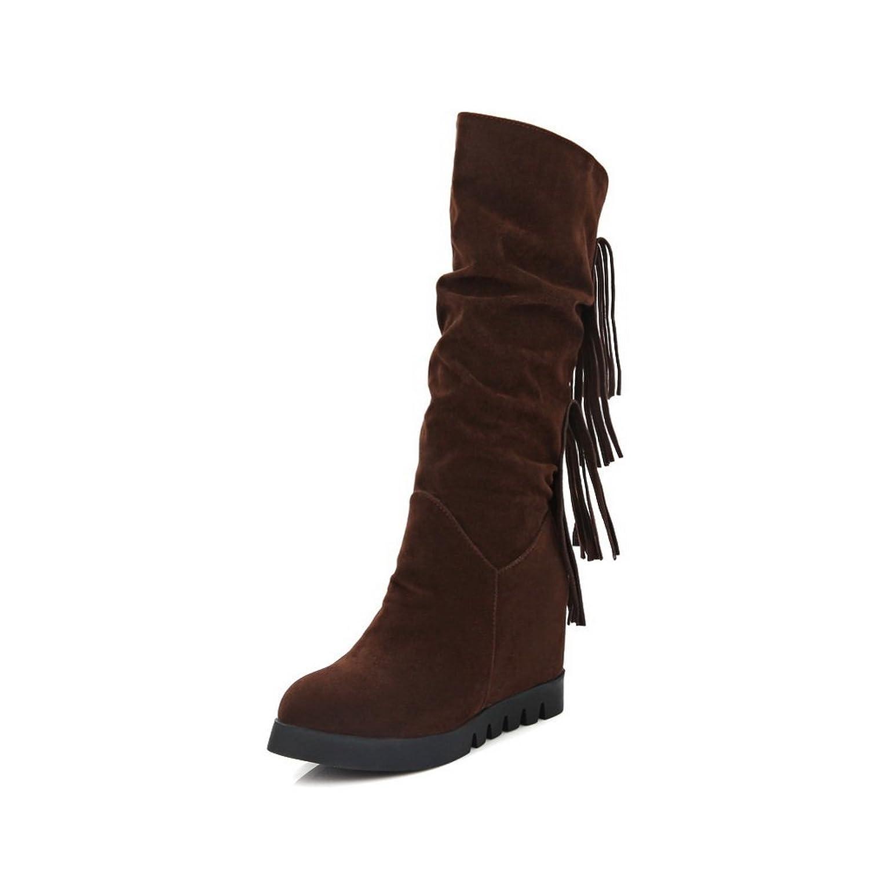 1TO9 Girls Heighten Inside Fashion Cone-Shape Heel Wheeled Heel Shoes Xi Shi Velvet Boots