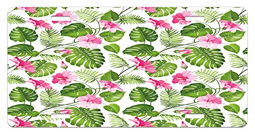 Lunarable Leaf License Plate, Hawaiian Hibiscus Crystal Pink Flower with Palm Tree Leaves Art Print, High Gloss Aluminum Novelty Plate, 5.88 L X 11.88 W Inches, Pale Pink and Dark Green