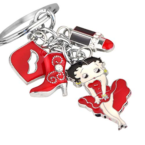 - Z249 Cute Betty Boop Sexy Kiss Lipstick Fashon Red Boot Charms Keychain